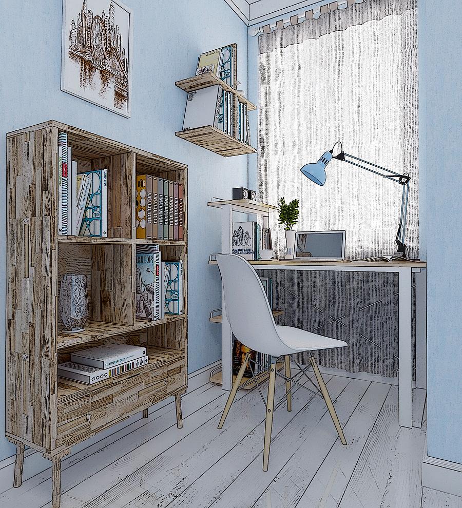 卧室一角|室内设计|空间|蓝色之控 - 原创设计作品