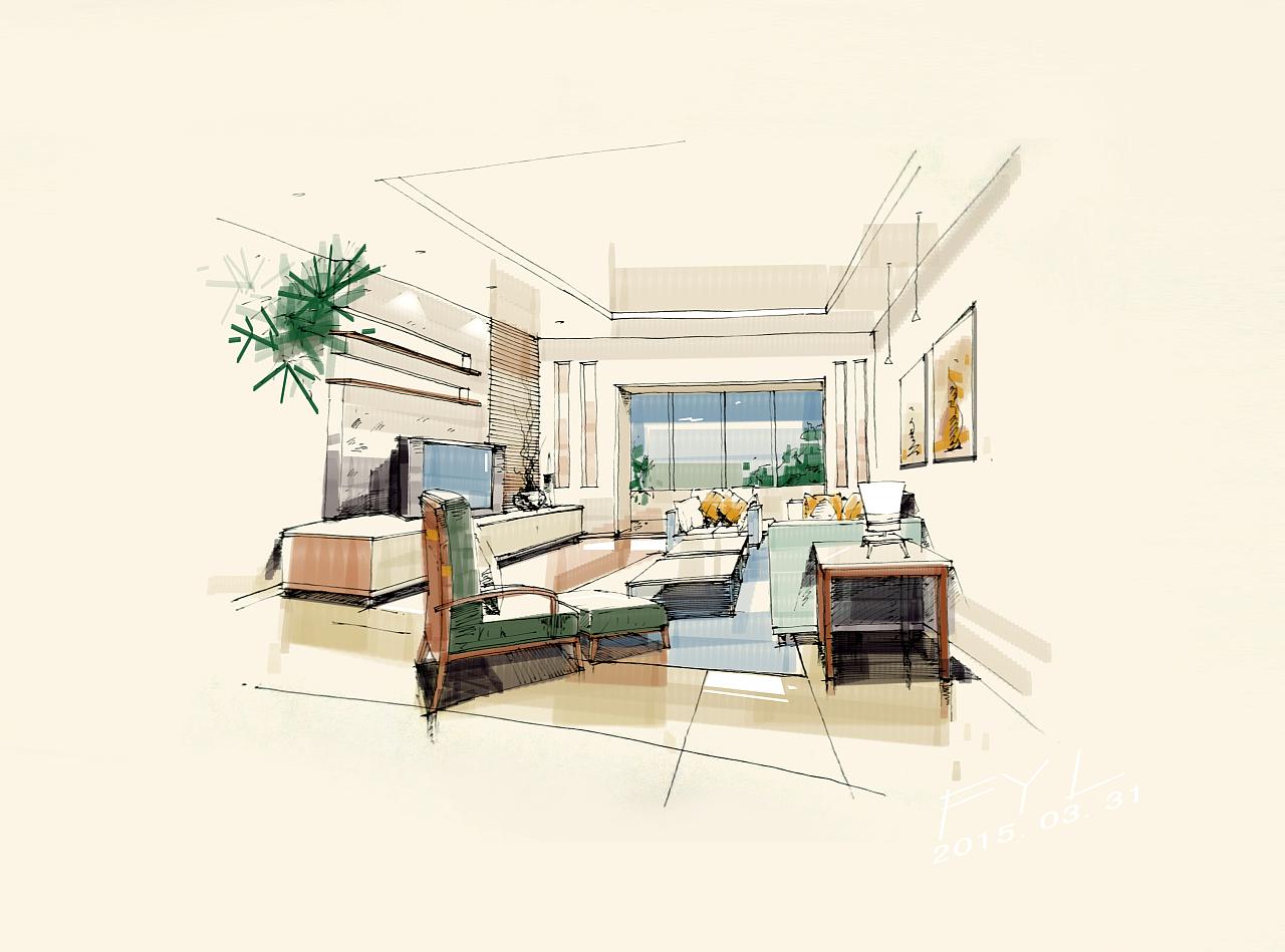 手绘室内效果图ps上色|空间|室内设计|1林fan - 原创