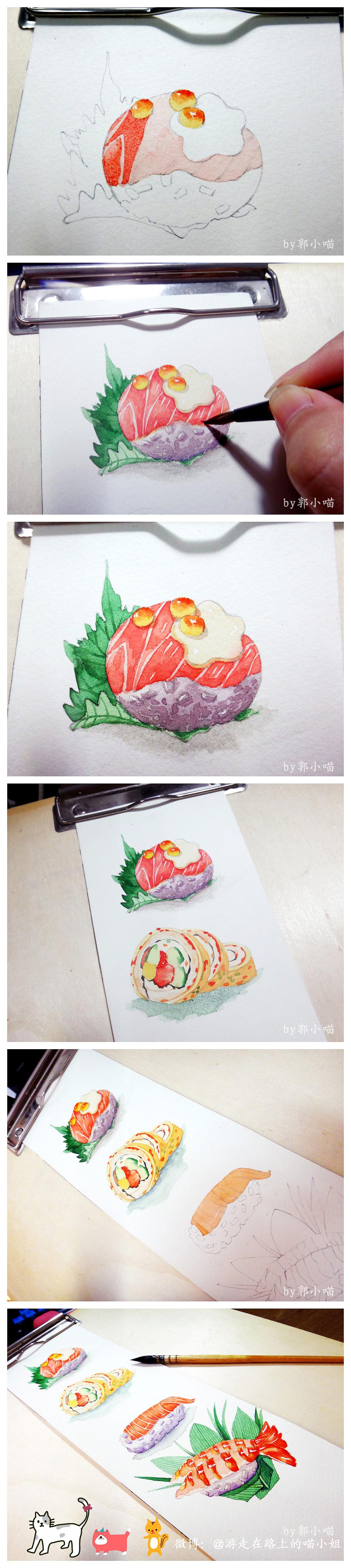 手绘水彩寿司君小过程
