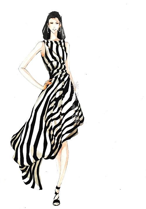 服装马克笔手绘系列——黄哲老师|休闲/流行服饰