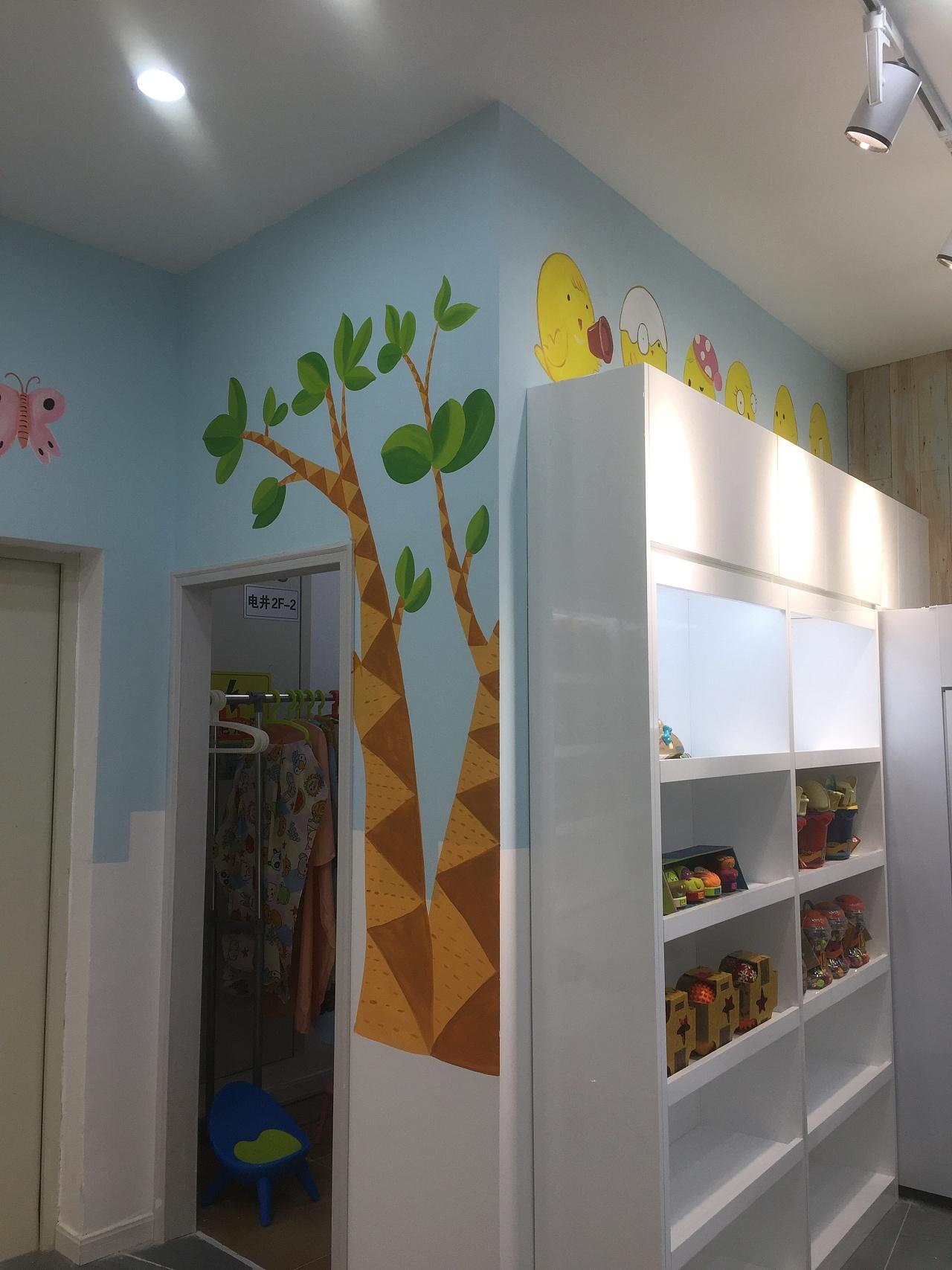 卡通儿童理发店墙绘 其他 墙绘/立体画 墨品手绘hyl