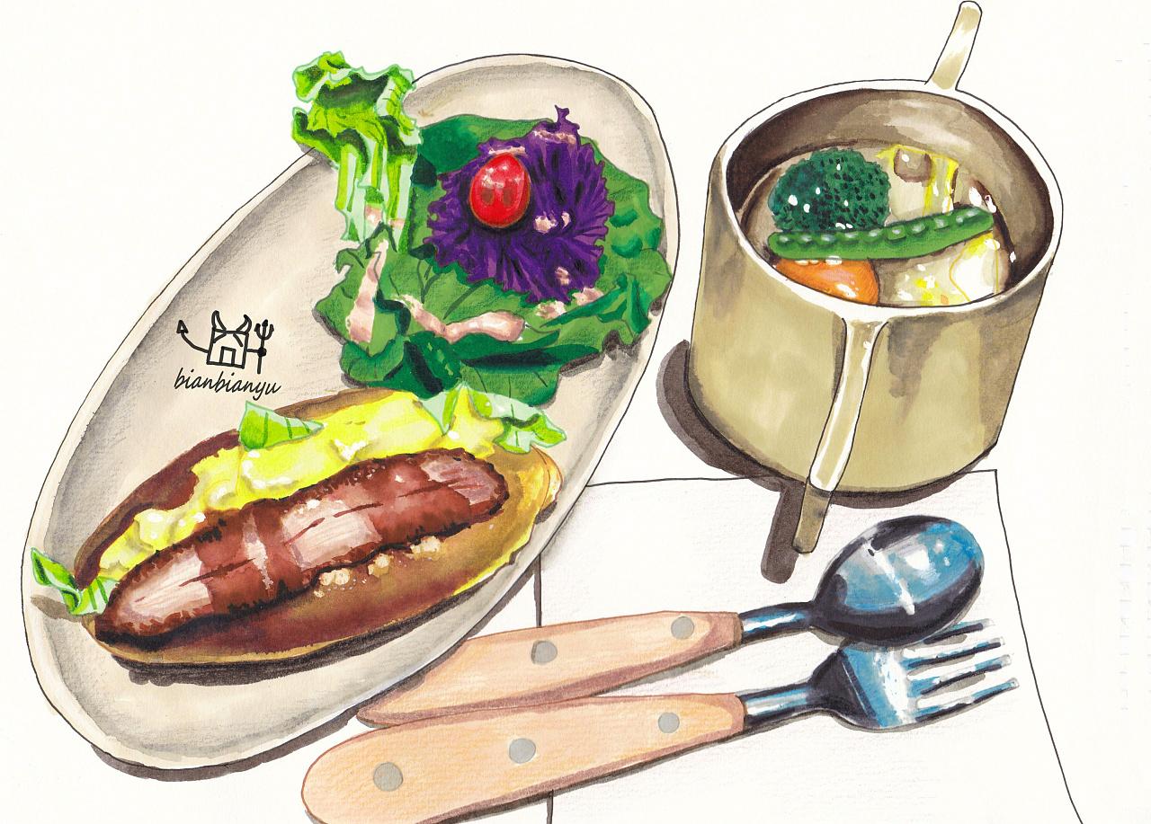 手绘美食插画