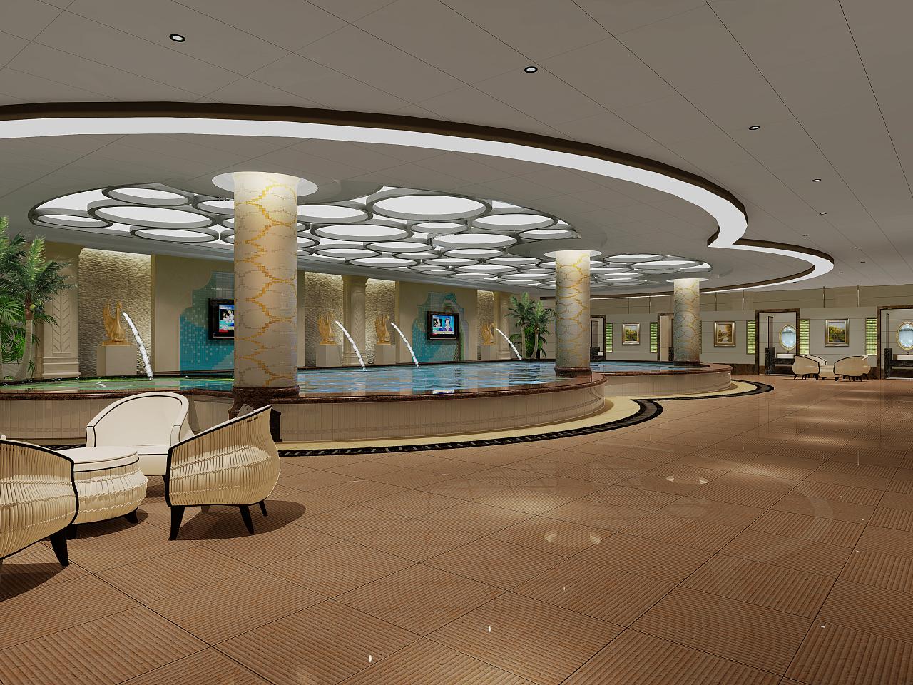深圳洗浴会所设计公司|洗浴中心装修大厅设计效果图