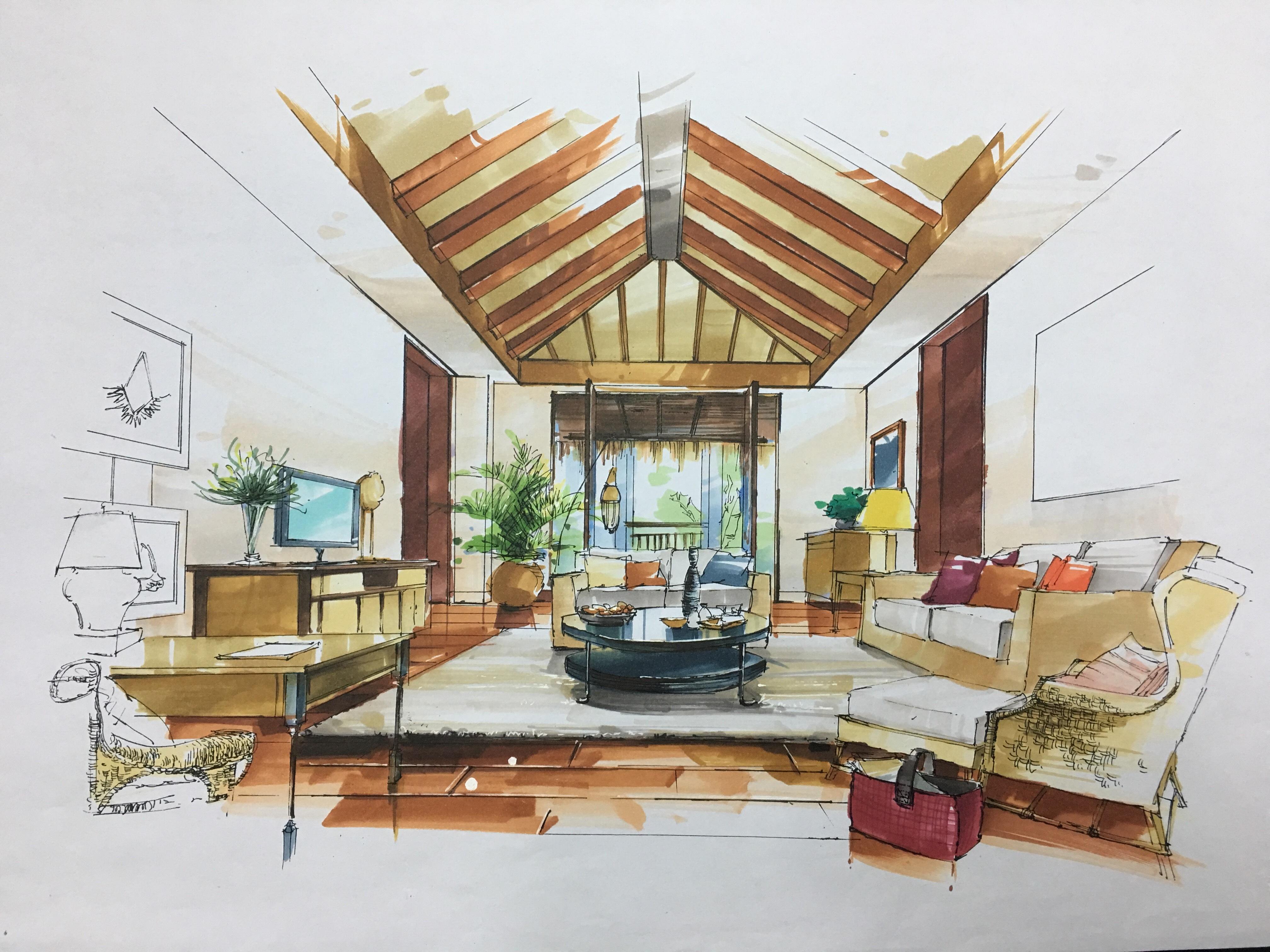 马克笔室内手绘效果图写生&临摹|空间|室内设计|purz