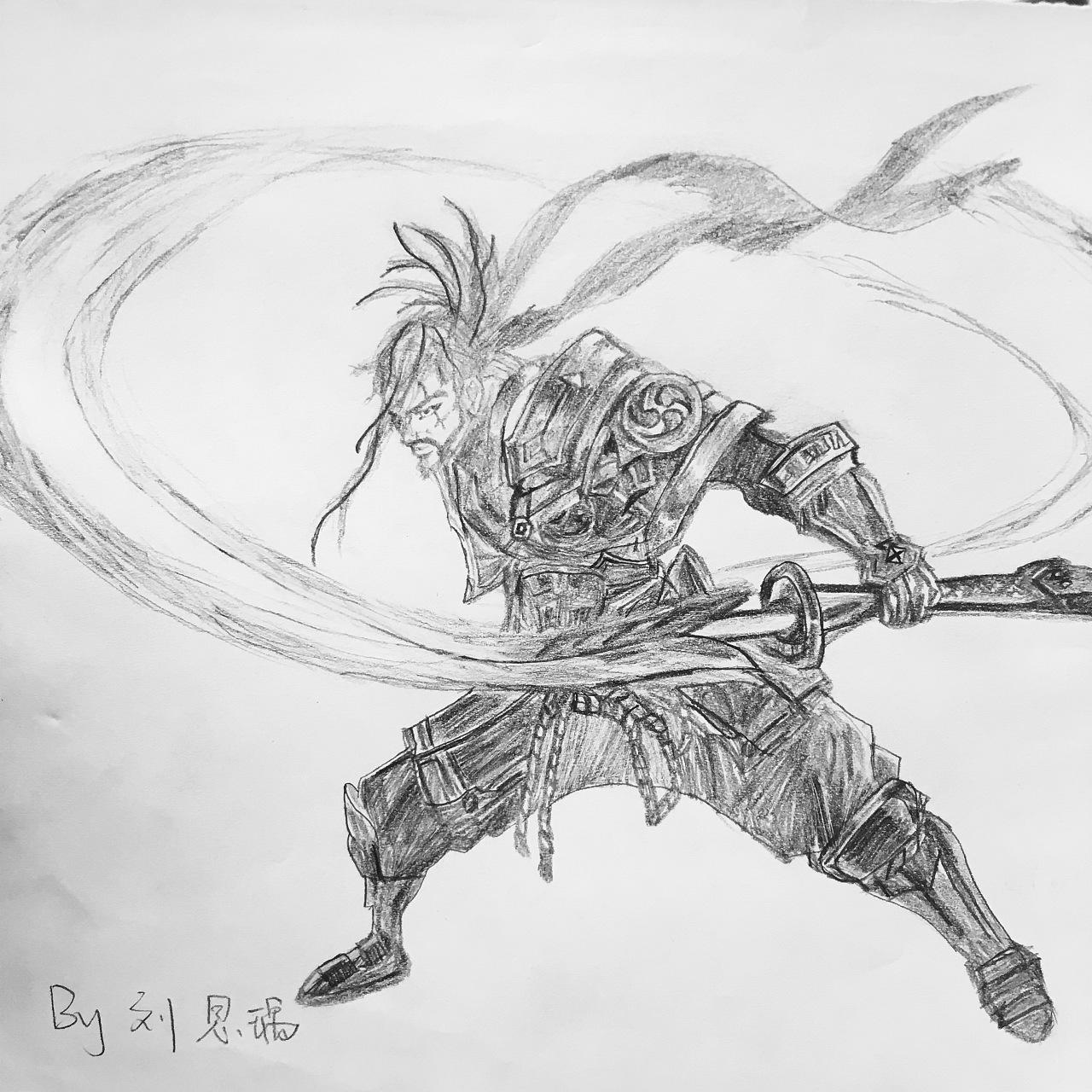 游戏 王者荣耀 铅笔画 宫本武藏