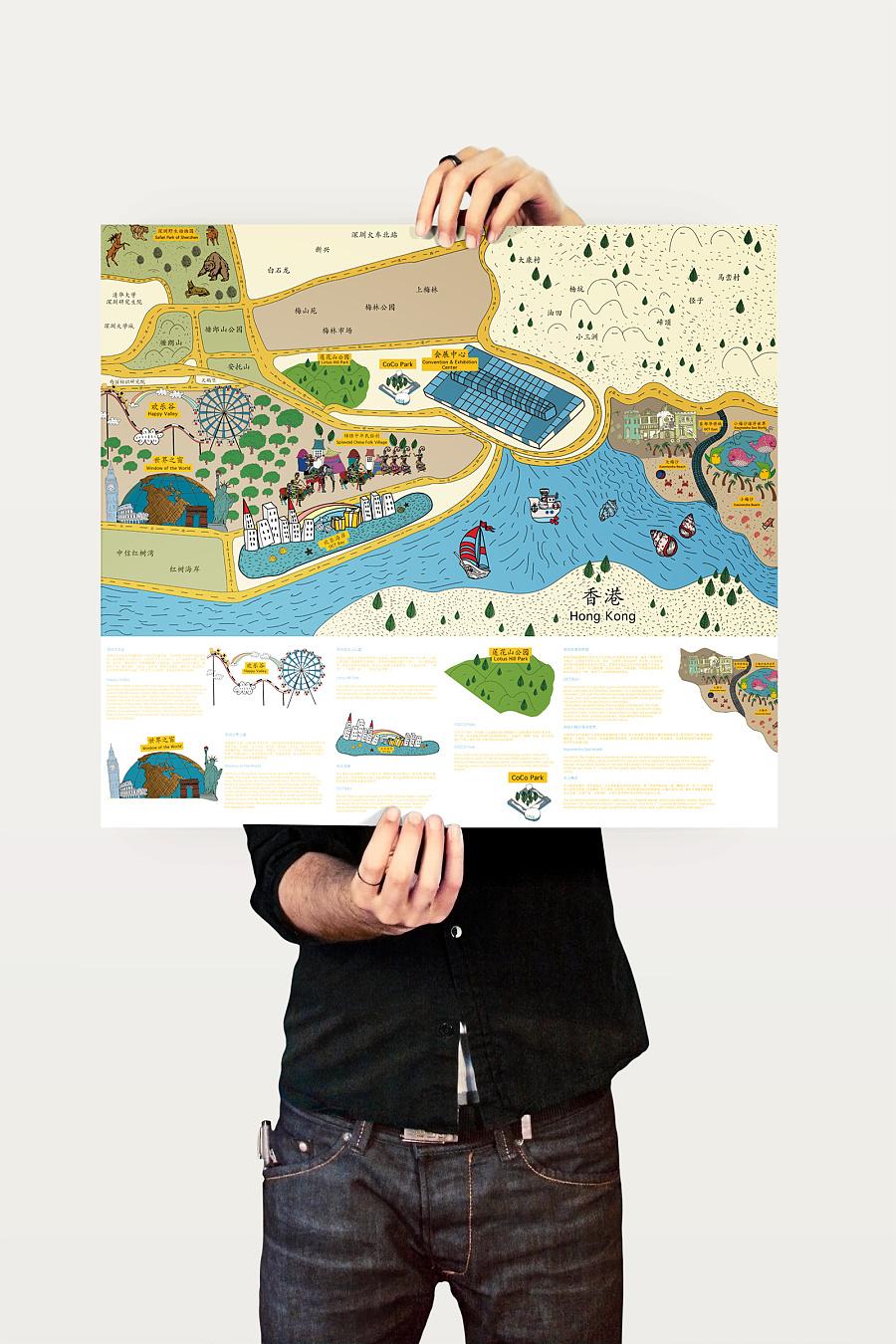 深圳旅游景点手绘地图_