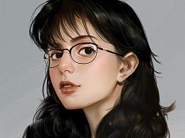 这种一戴眼镜,我就受不了,太有知性美了 