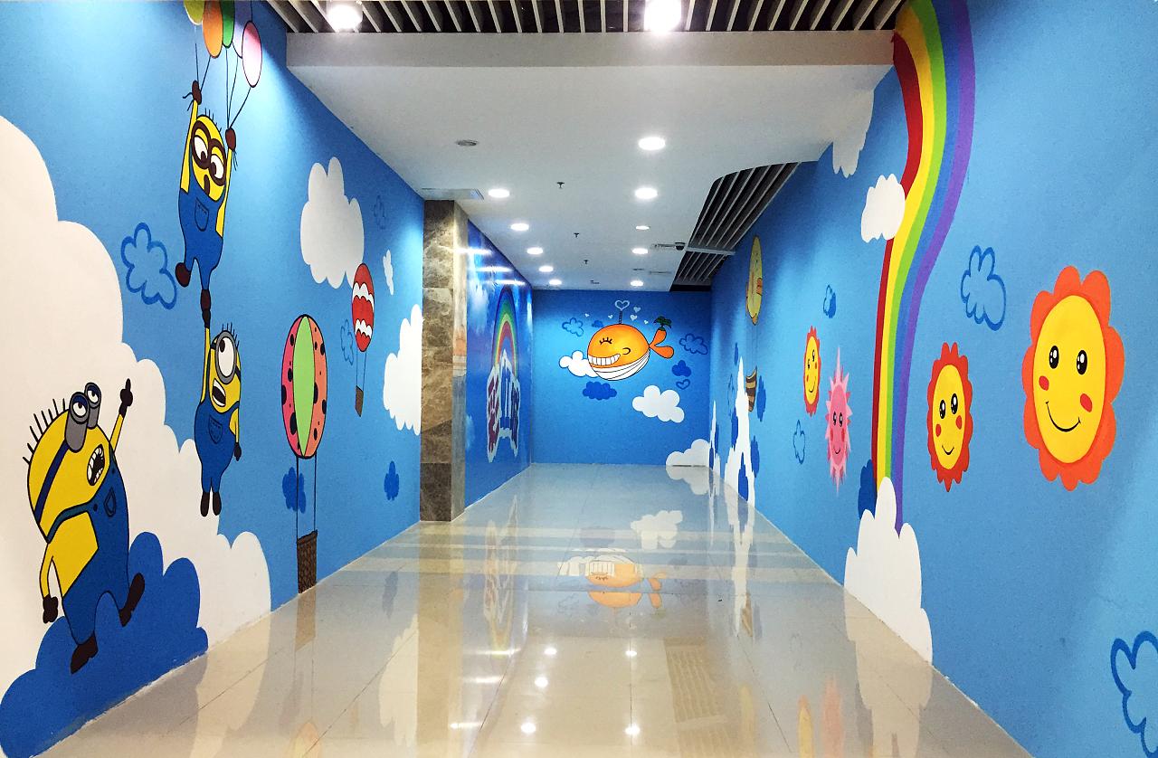 〔豹小玉手绘〕青岛-即墨-宝龙广场儿童游乐区手绘背景墙-商场装饰