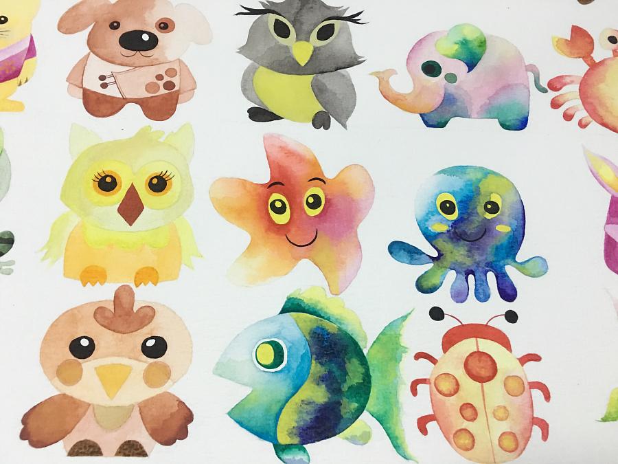 原创作品:水彩卡通小动物合集
