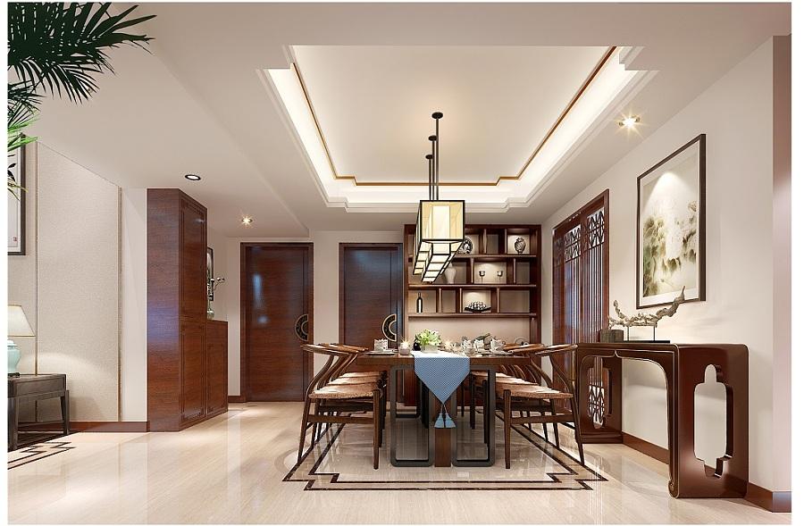 恒大金碧天下别墅装修设计|现代新中式别墅室内设计效果图图片