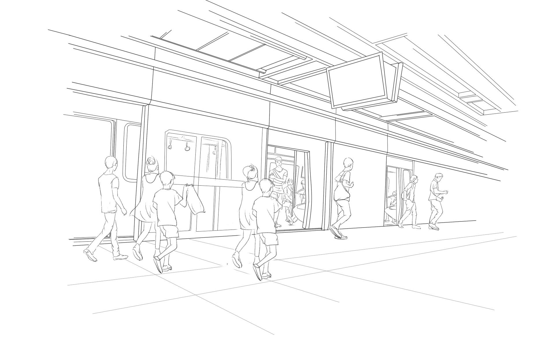地铁站线描手绘