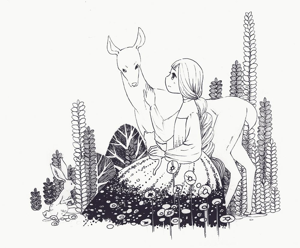 手绘语文杂志插图