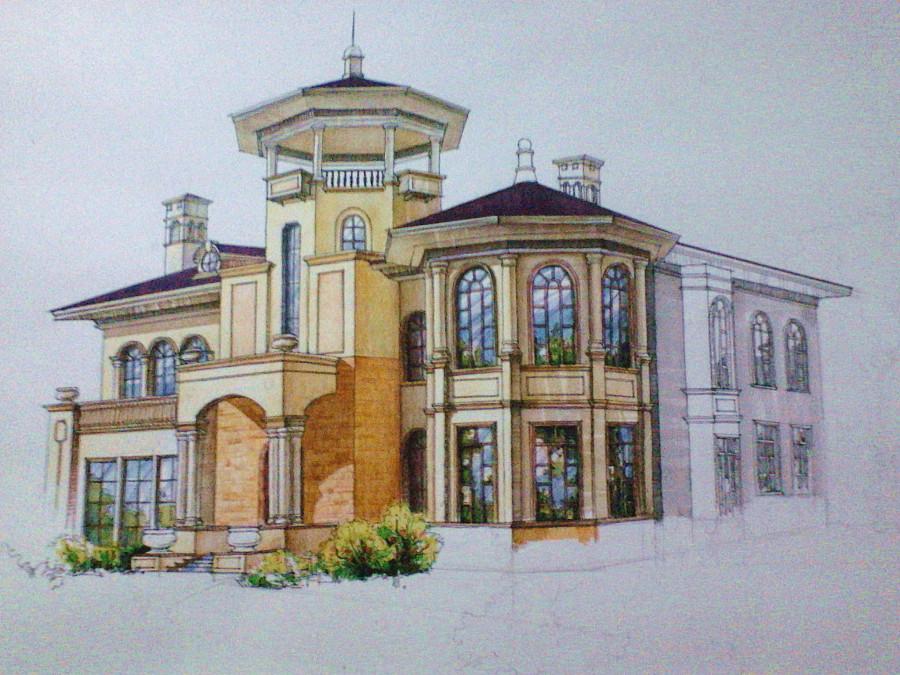 欧式风格别墅外观手绘效果图(上色步骤)|建筑设计