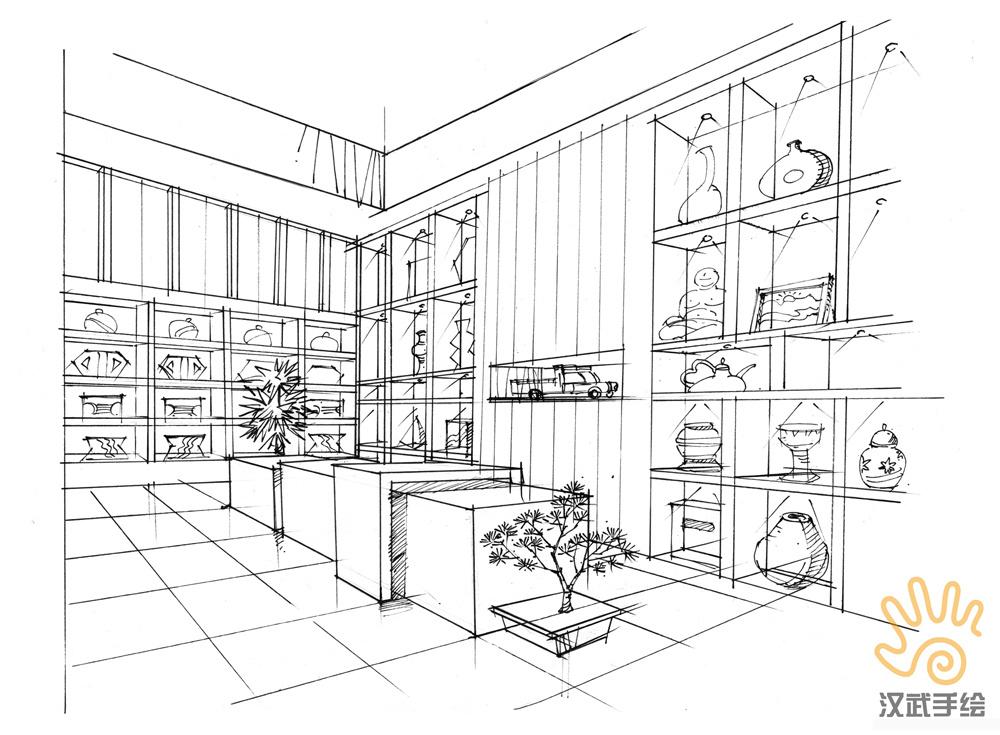 禅意室内手绘方案效果图