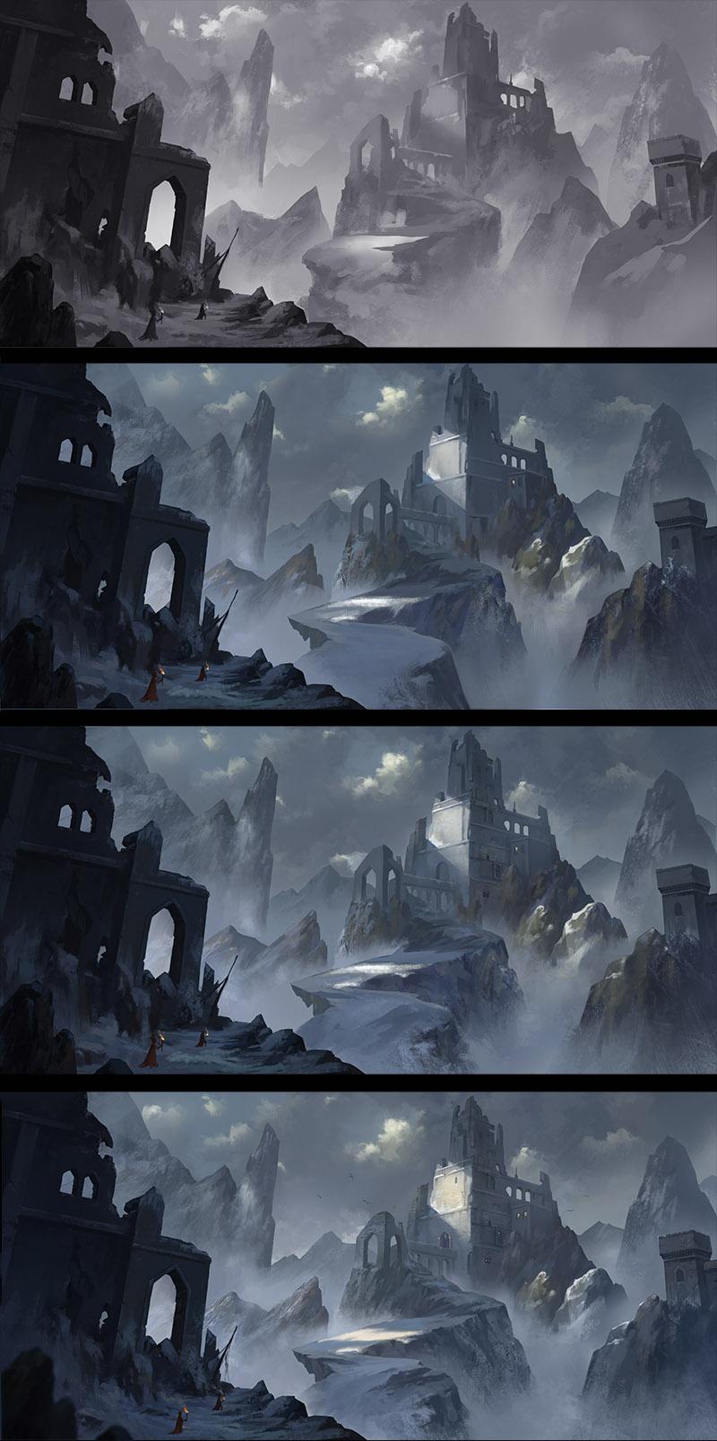 雪地场景气氛图 游戏原画 插画 左木cg - 原创设计