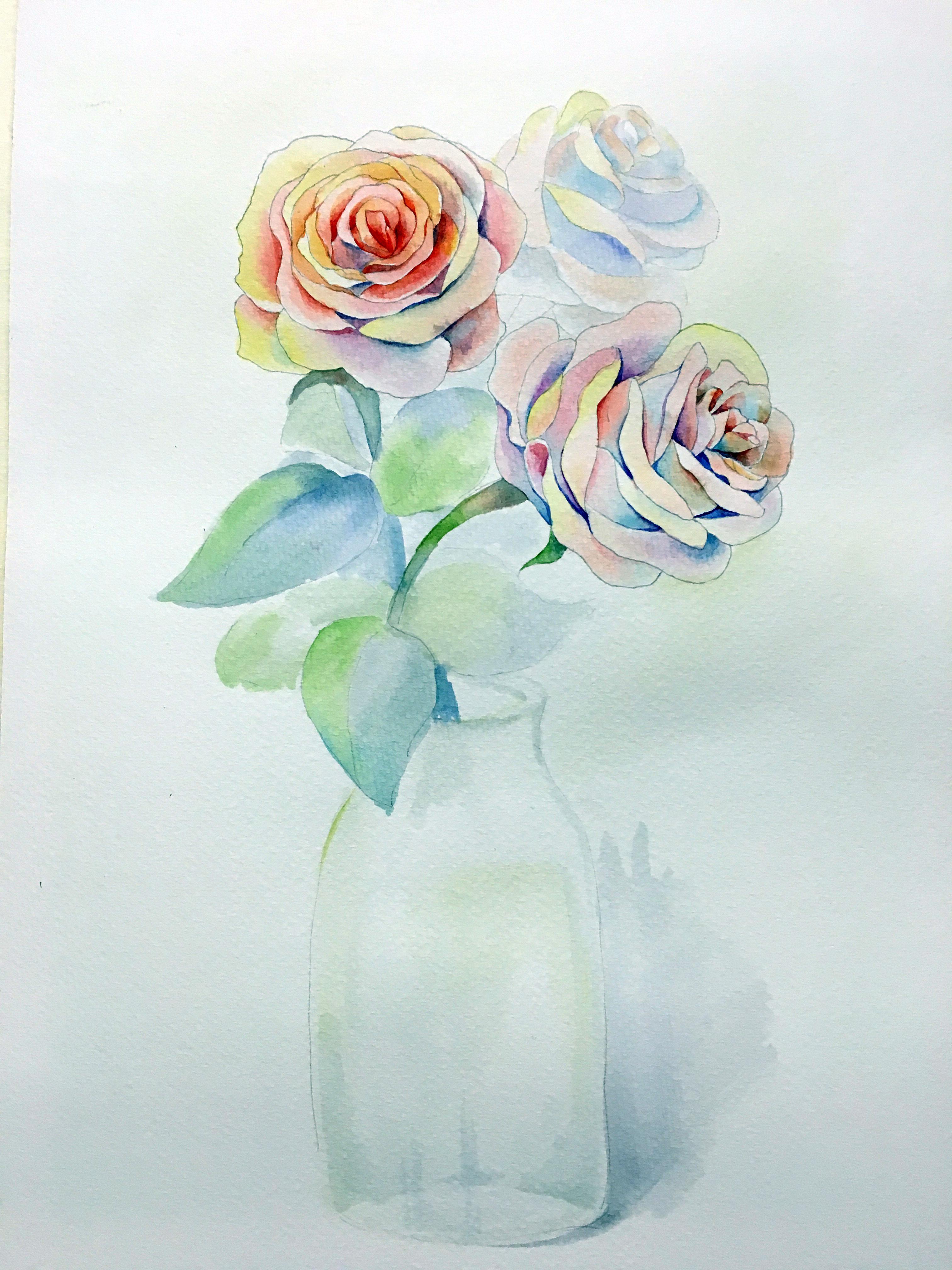手绘花卉画临摹步骤图