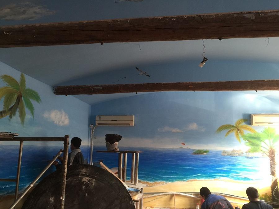 餐厅3d墙体彩绘 设计