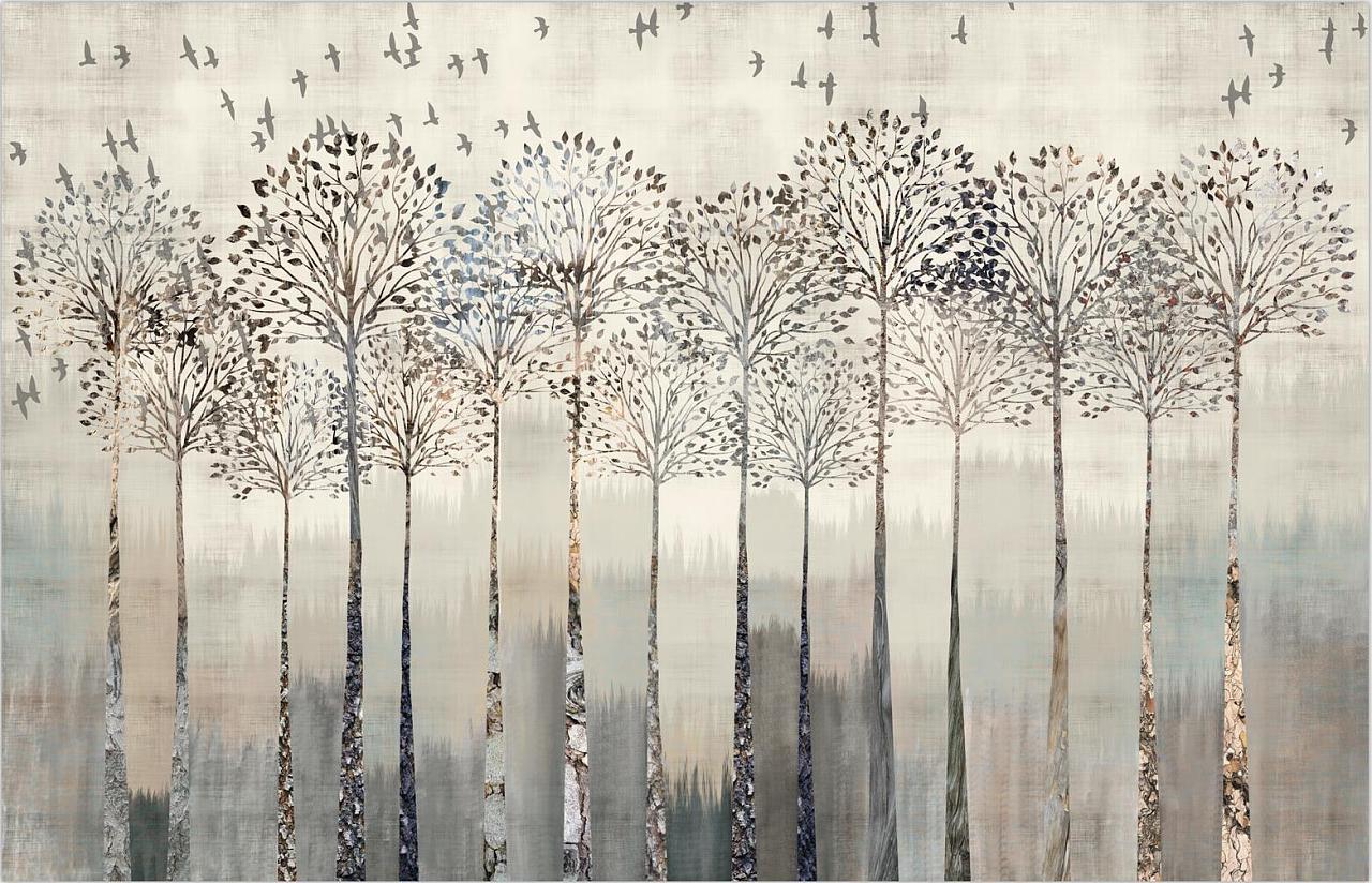 思舍艺术创意壁纸北欧客厅电视背景墙纸个性定制无缝壁画复古树林图片