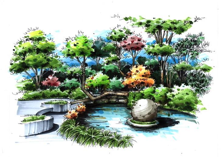 同济大学景观角手绘临摹作品带步骤图杭州手绘培训组