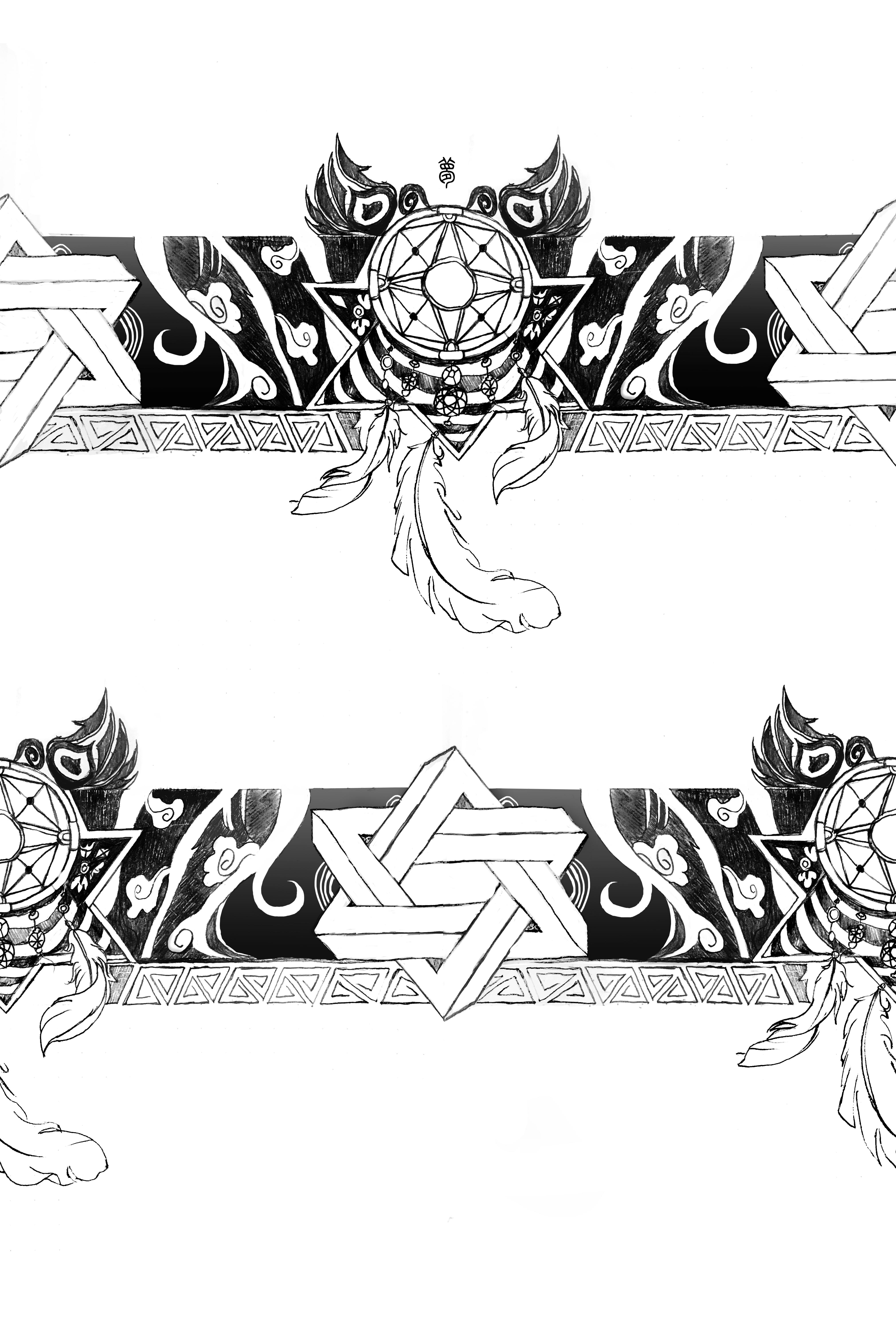 """纹身手稿""""梦"""" 花臂图片"""