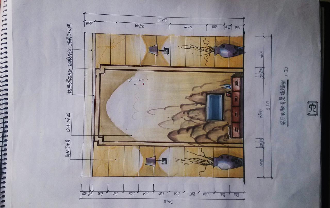 水墨江南别墅设计客厅手绘立面图