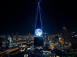 微信点亮世界最高塔(迪拜哈利法塔)