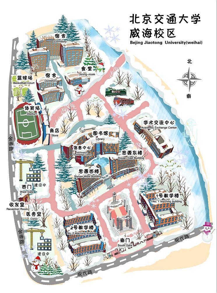 手绘校园地图,夏冬两版