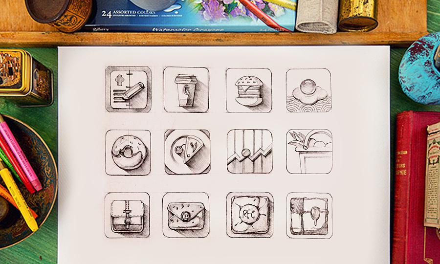 小图标手绘练习图片