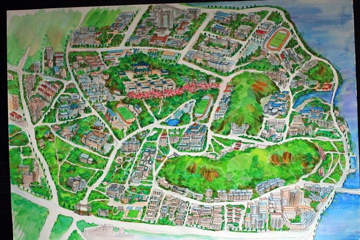 武汉大学手绘地图