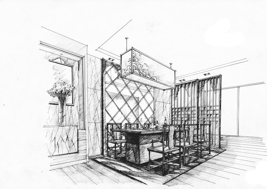 餐厅手绘图|室内设计|空间/建筑|mhc绘