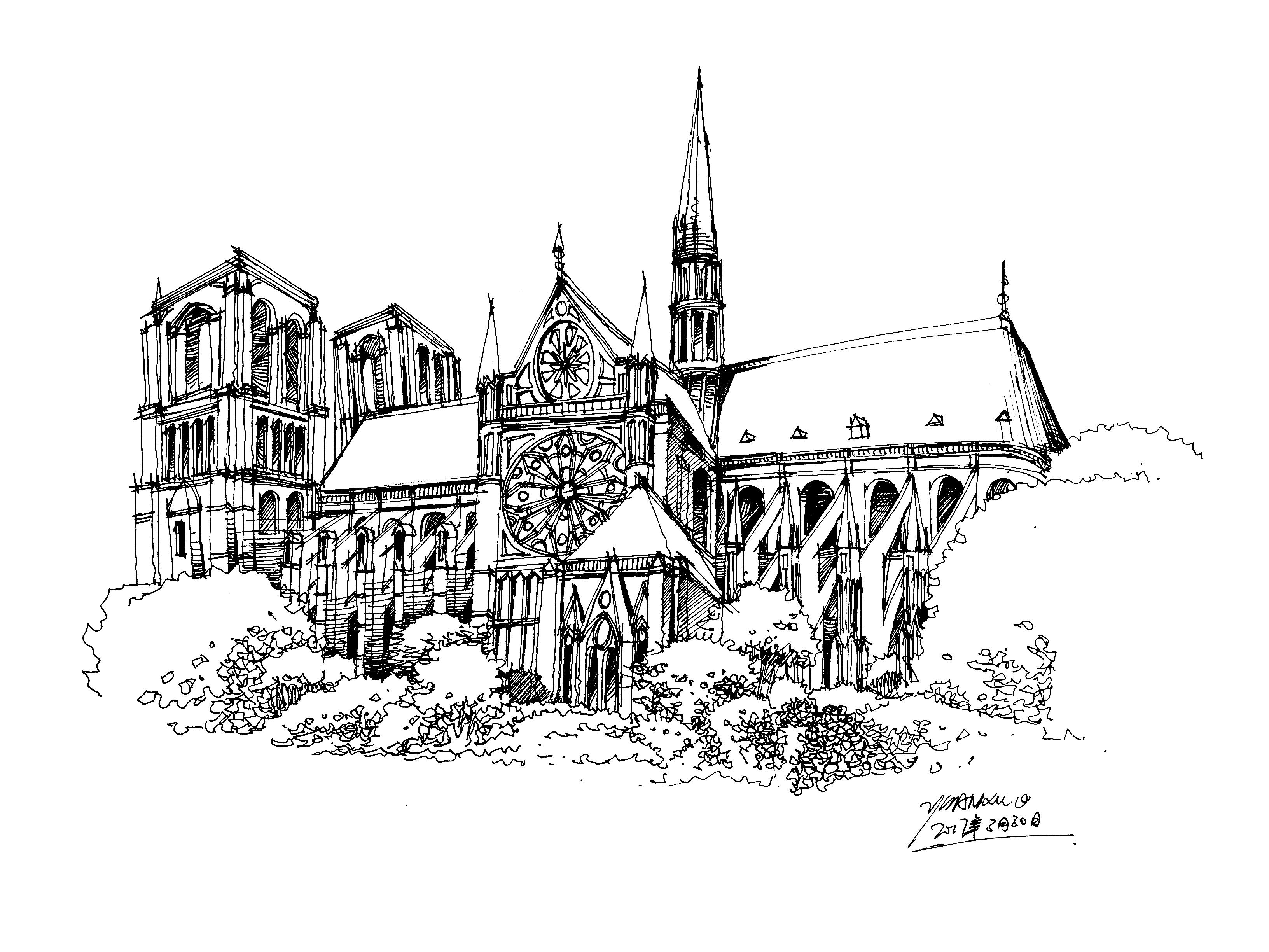 手绘巴黎圣母院