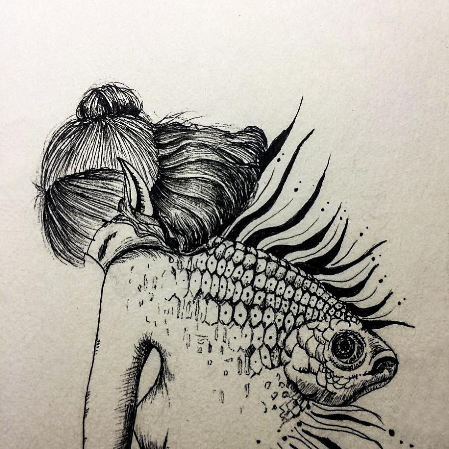 手绘铅笔人鱼图片