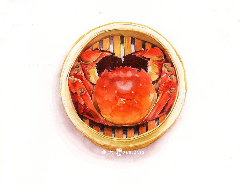 手绘水彩-大闸蟹