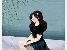 八月情绪小插画