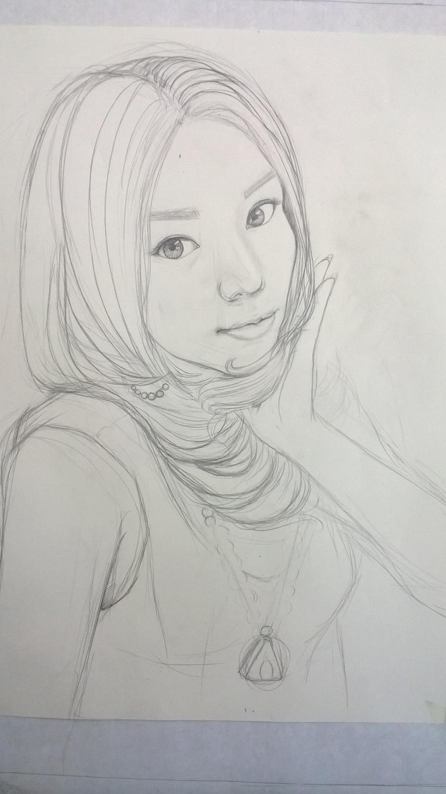 工笔人物画——美丽的女同志