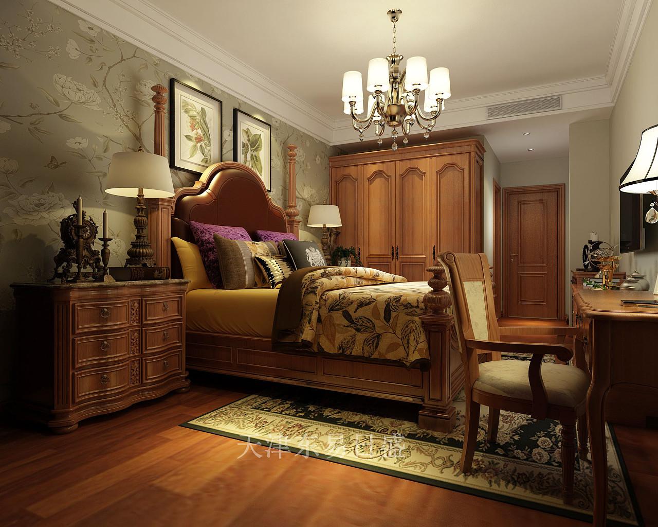 融创中心美式乡村风格主卧室装修效果图
