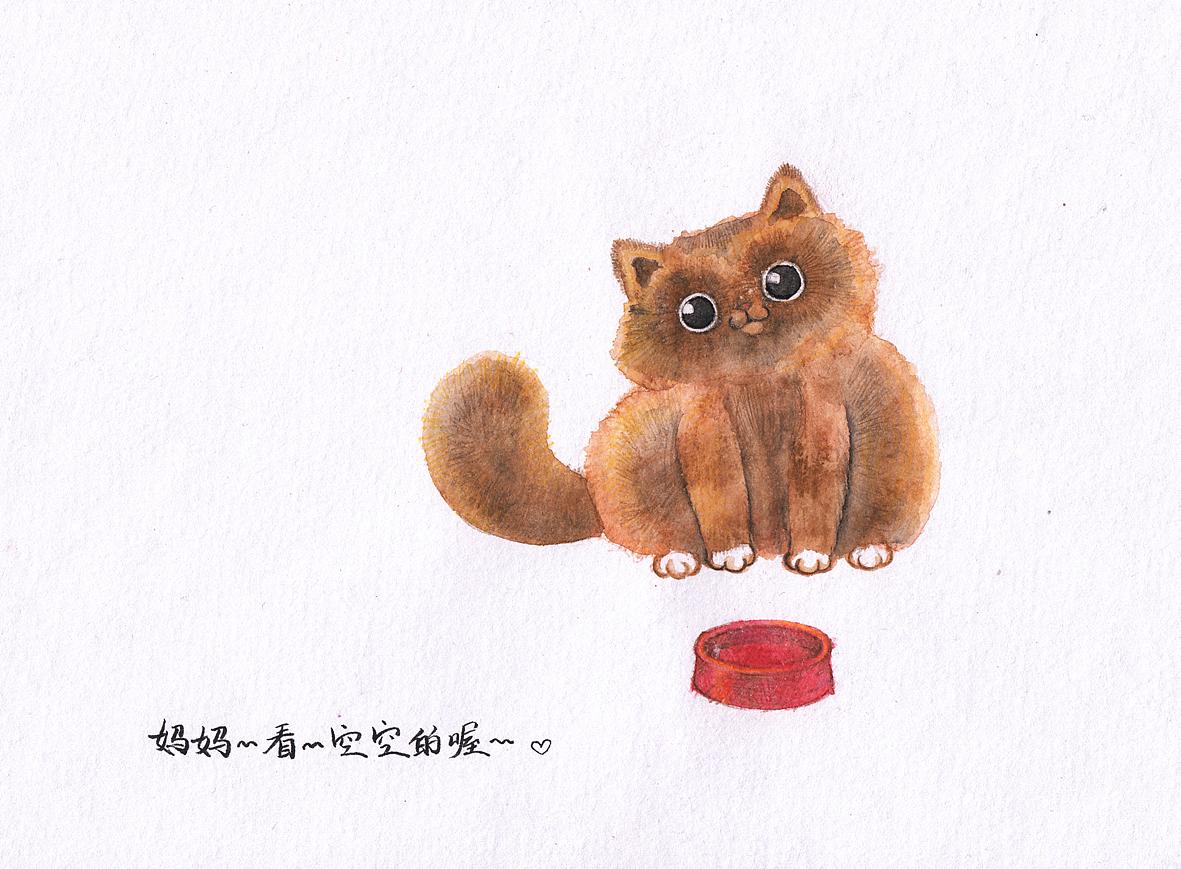 水彩画的小猫咪图片