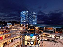 虚拟商业城夜景vr. ue4制作。虚拟现实