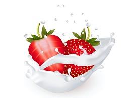 渐变网格中的牛奶草莓