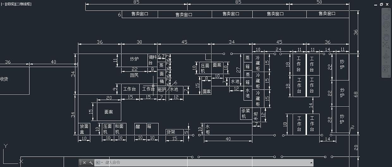 大学食堂cad平面图