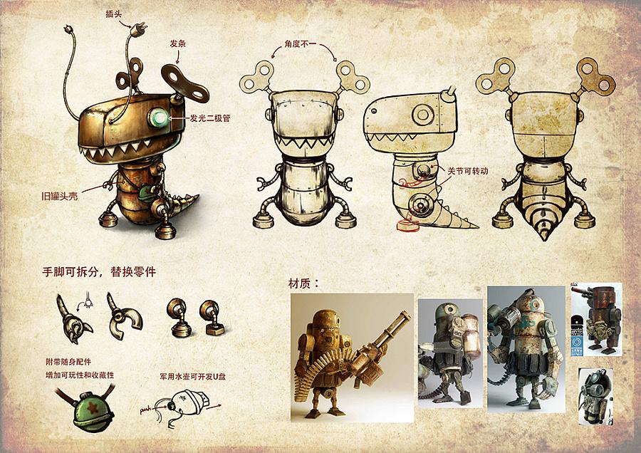 [旧作] 蒸汽朋克风机械龙——卡通形象设计图片