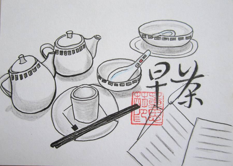 粤式茶点系列---手绘明信片系列