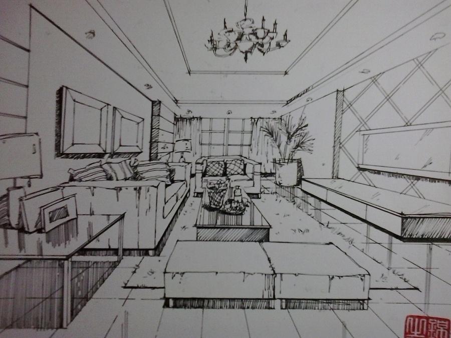 手绘线稿,草图|室内设计|空间|听凉冬风寒 - 原创设计