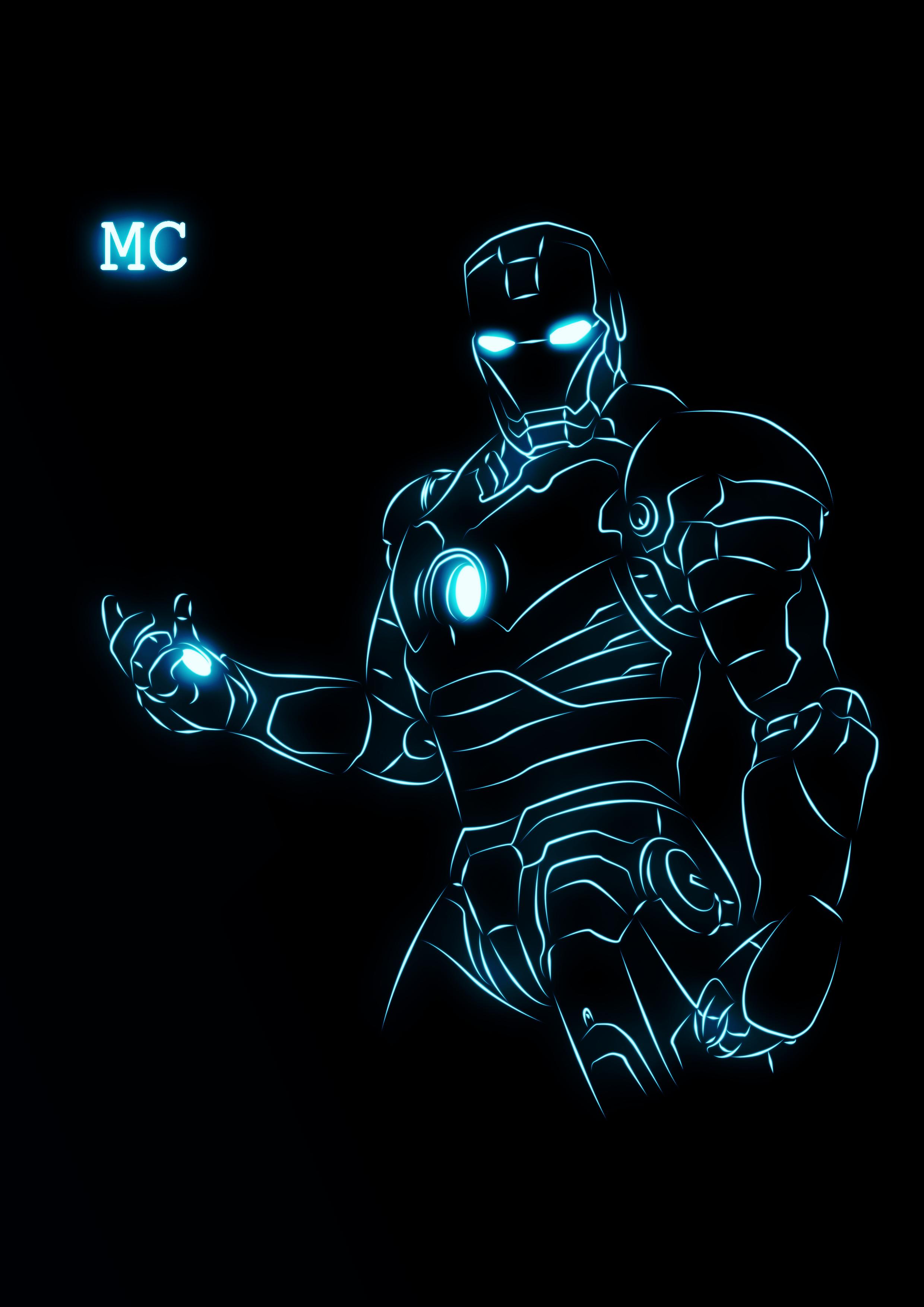 钢铁侠荧光线描效果图图片