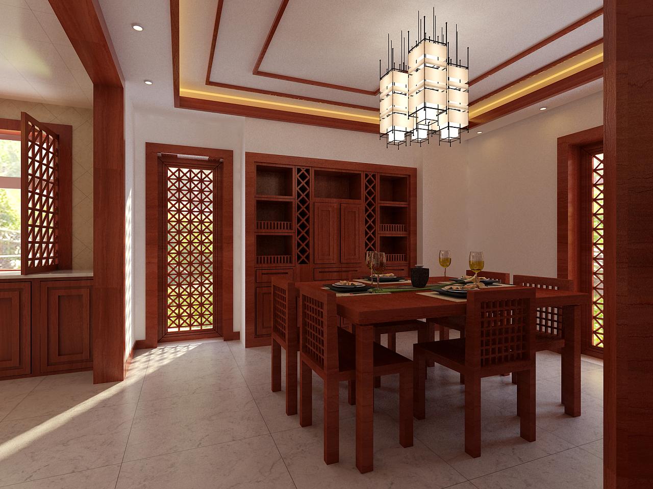 中式别墅,室内效果图