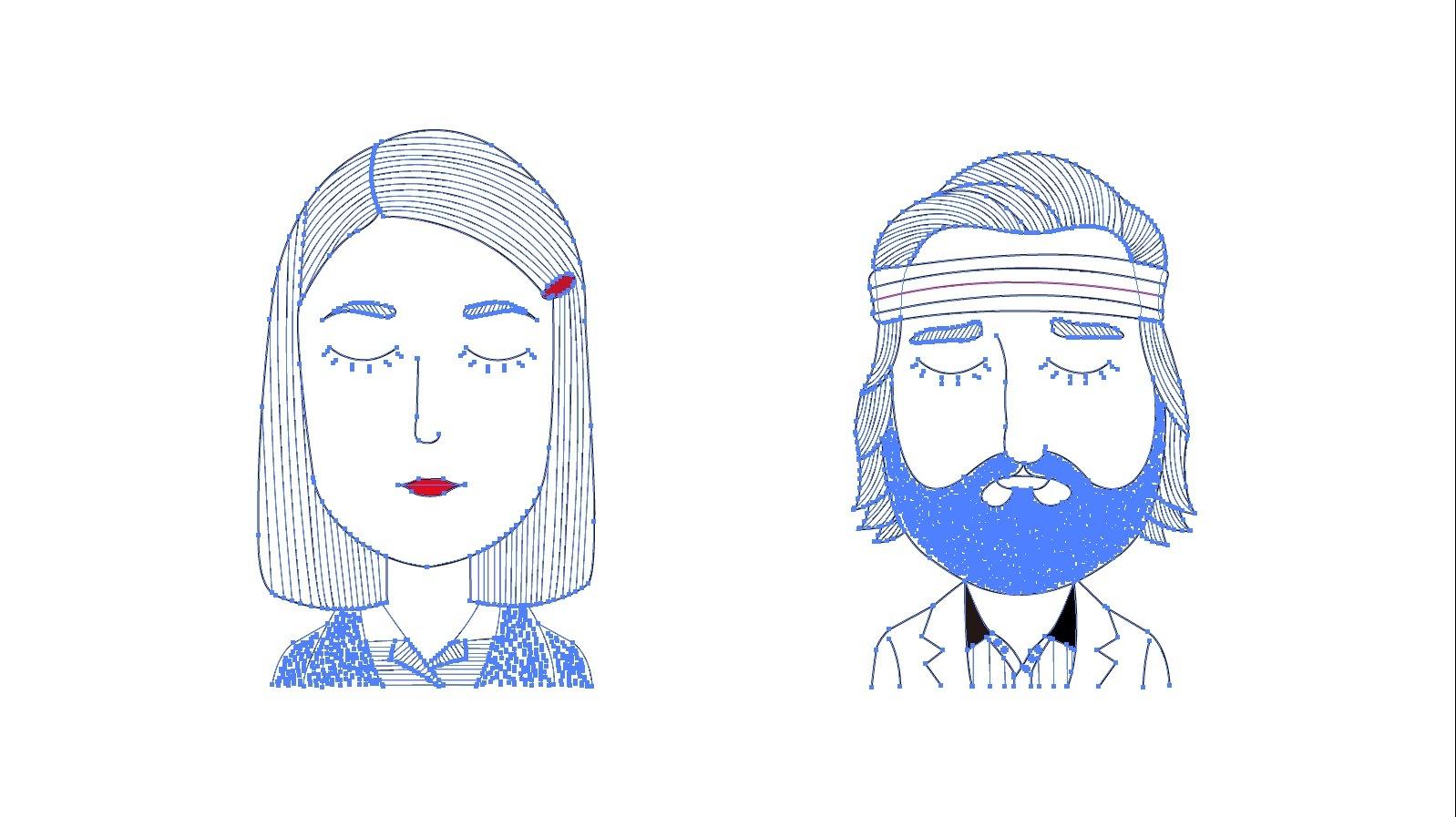 情侣头像手绘|平面|图案|sya_sun - 原创作品 - 站酷
