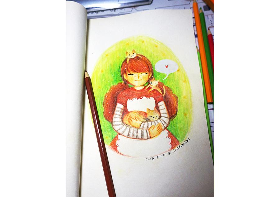 《满满爱的猫奴少女》彩铅手绘插画