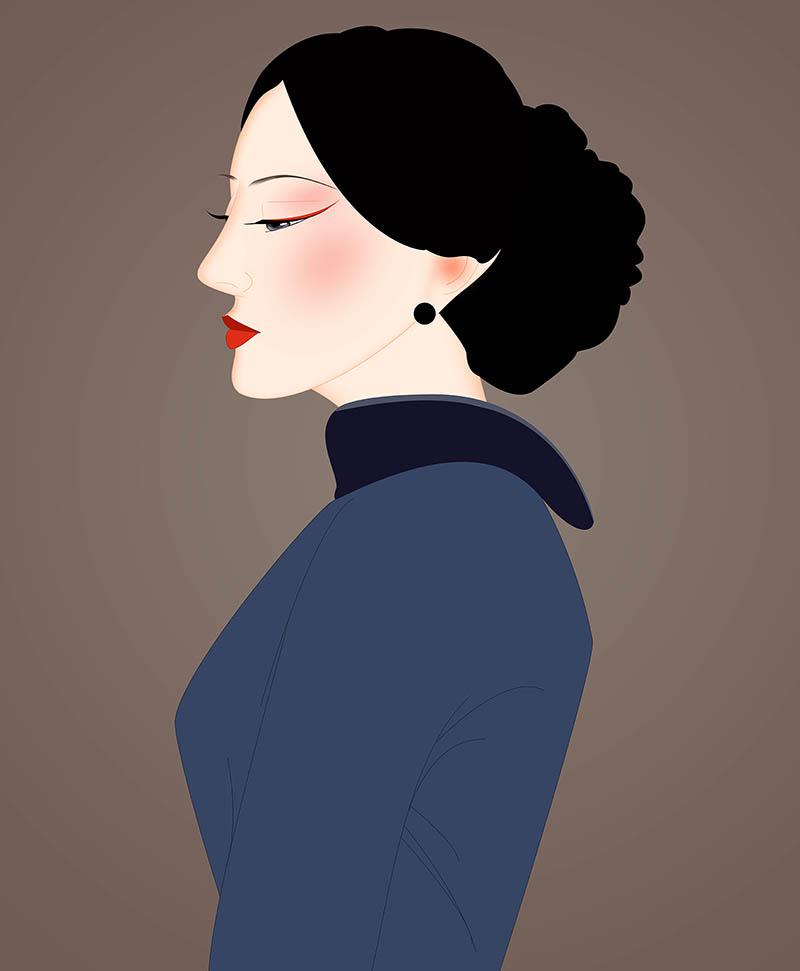 旗袍美女 民国美女 古典美女 手绘美女 手绘插画 古装美女 旗袍女性