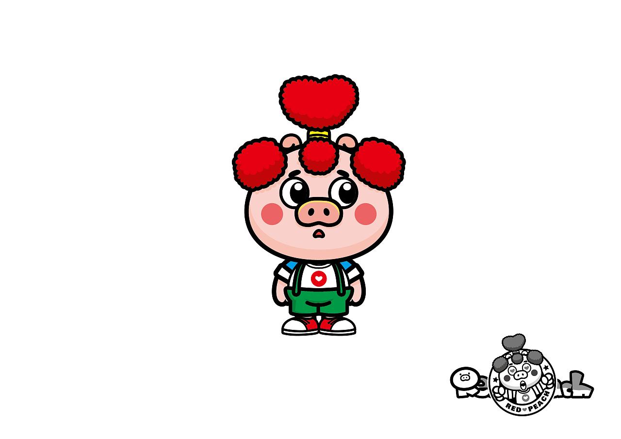 桃心小猪卡通形象设计