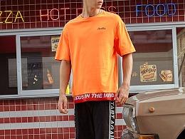 A21男装2018夏季新款圆领t恤衫 个性印花撞色短袖衫